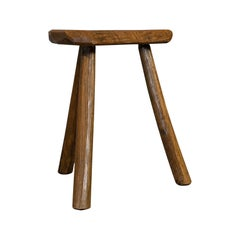 Antique Milking Stool, French, Elm, Handcrafted, Rustic, Bench, Lamp, Victorian