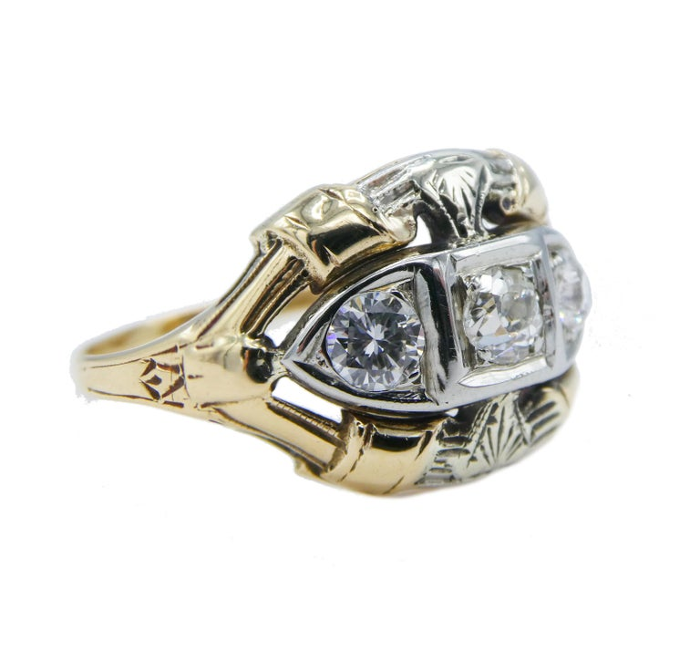 Antique Mine Cut Three Stone Diamond Ring Size 6.5   Metal: 14k Gold Two-Tone Yellow and White Diamonds: Old Mine Cut Round Diamonds 0.30 CTW approx G-H SI Finger Size: 6.5 (6 1/2) Dimensions: 11.9mm thick at top and 1.45mm at base of