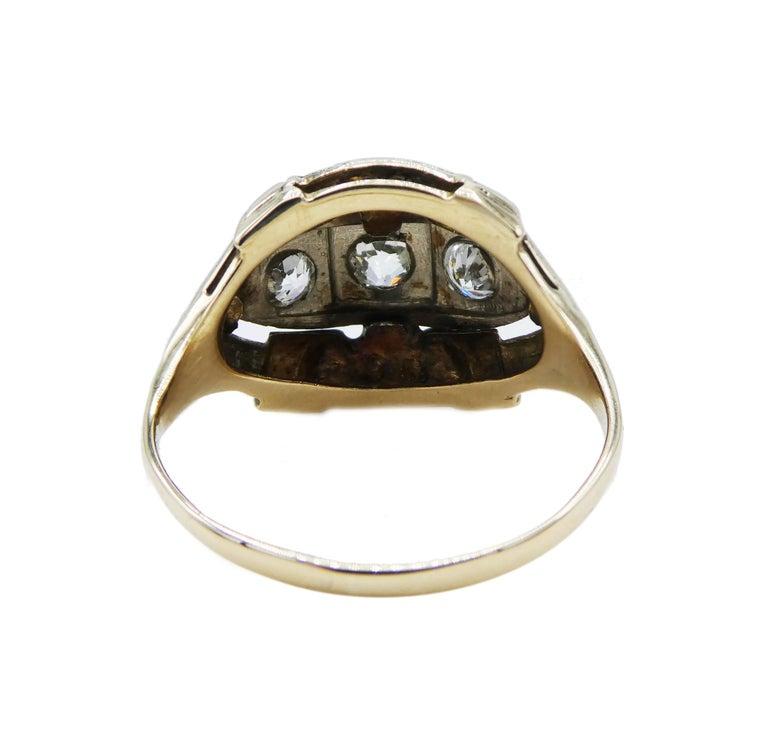 Old Mine Cut Antique Mine Cut Three-Stone Diamond Ring For Sale