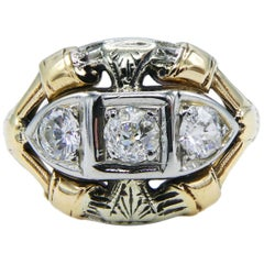 Antique Mine Cut Three-Stone Diamond Ring