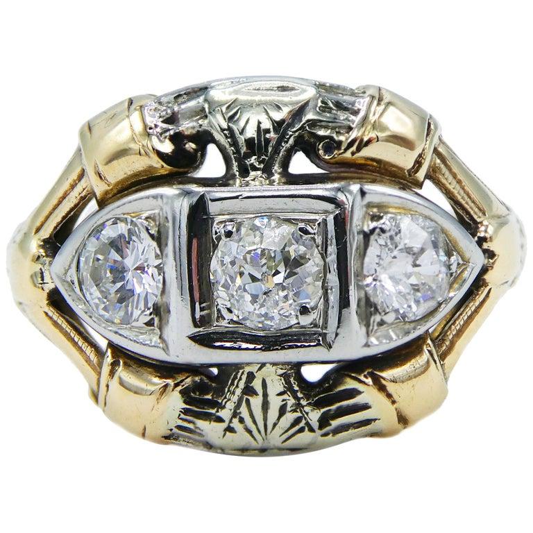 Antique Mine Cut Three-Stone Diamond Ring For Sale