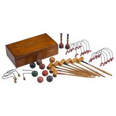 Antique Mini Croquet Set with Wooden Box