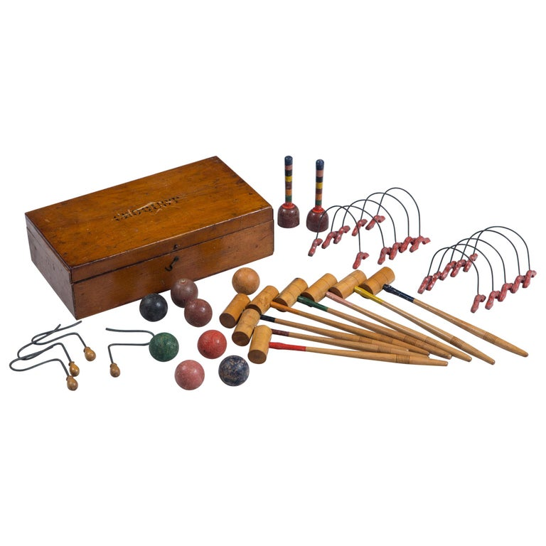 Antique Mini Croquet Set with Wooden Box For Sale
