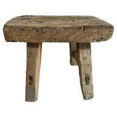 Antique Mini Elm Wood Stool