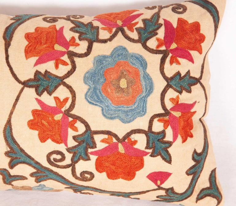 Uzbek Antique Mini Pillow Case Fashioned from a 19th Century Bukhara Suzani For Sale