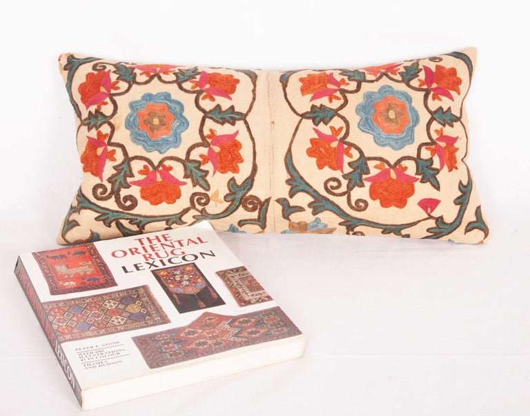 Embroidered Antique Mini Pillow Case Fashioned from a 19th Century Bukhara Suzani For Sale