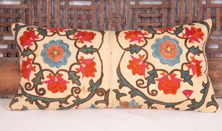 Silk Antique Mini Pillow Case Fashioned from a 19th Century Bukhara Suzani For Sale
