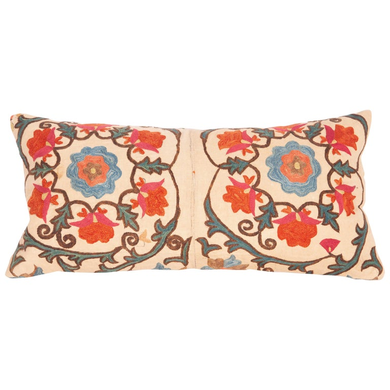 Antique Mini Pillow Case Fashioned from a 19th Century Bukhara Suzani For Sale