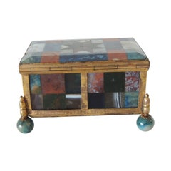 Antique Miniature Agate Specimen Ormolu-Mounted Decorative Box