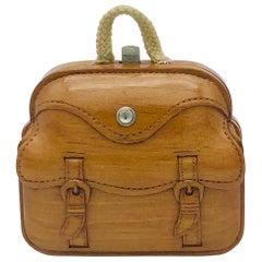 Antique Miniature Boxwood Traveller Bag Purse Iron Silk Cotton