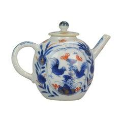 Antique Miniature circa 1700 Japanese Imari Porcelain Teapot Arita Edo Rooster