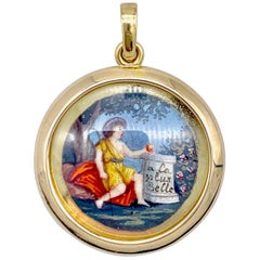 Antique Miniature Choice of Paris Watercolor Pendant Silver Gilt Gold