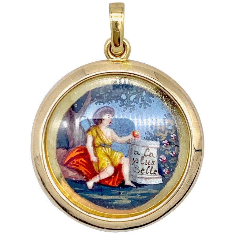 Antique Miniature Choice of Paris Watercolor Pendant Silver Gilt Gold For Sale