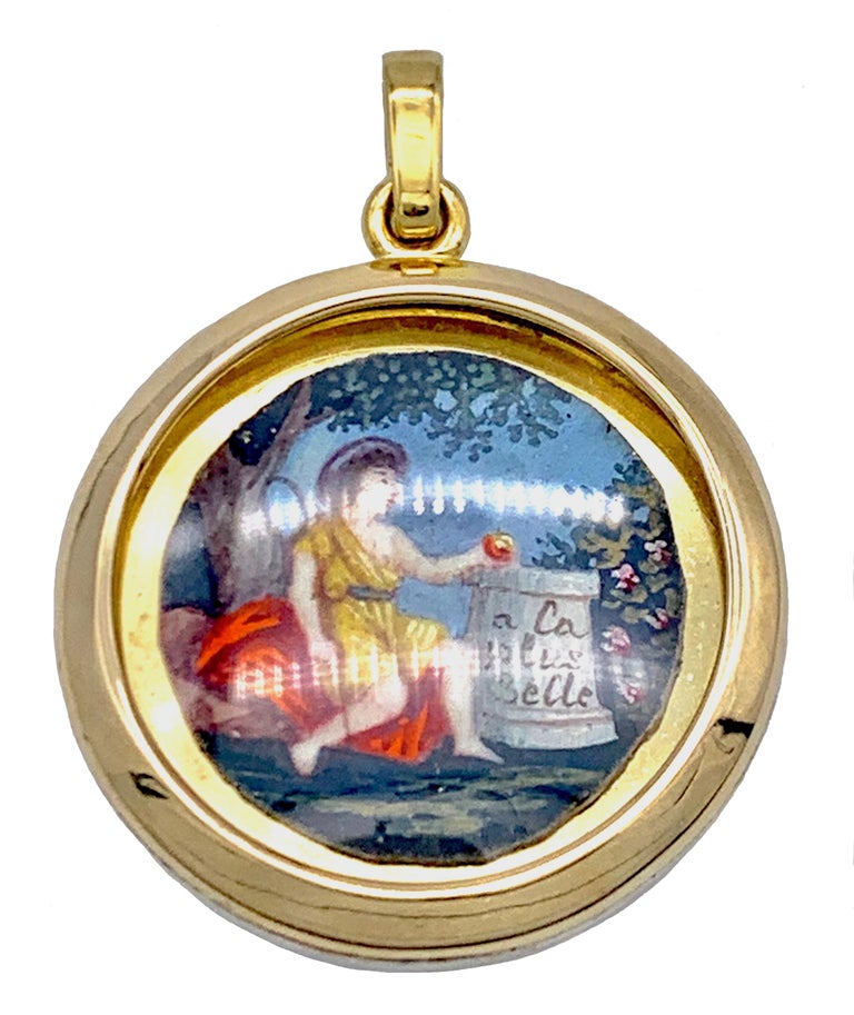 Antique Miniature Choice of Paris Watercolor Pendant Silver Gilt Gold In Good Condition For Sale In Munich, Bavaria
