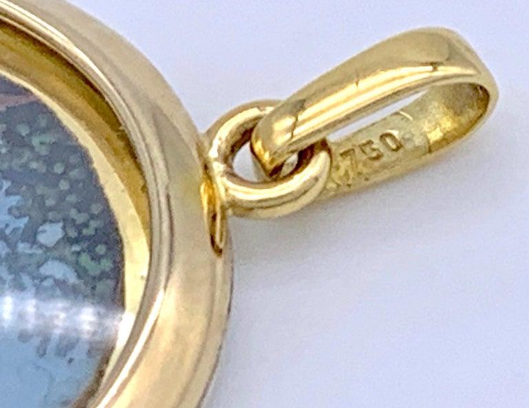 Women's Antique Miniature Choice of Paris Watercolor Pendant Silver Gilt Gold For Sale