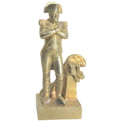 Antique Miniature Gilt Bronze Sculpture of Napoleon Bonaparte in Uniform