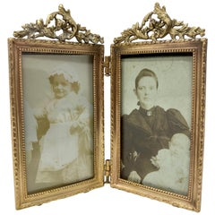 Antique Miniature Gold Bronze Double Picture Frame, circa 1890