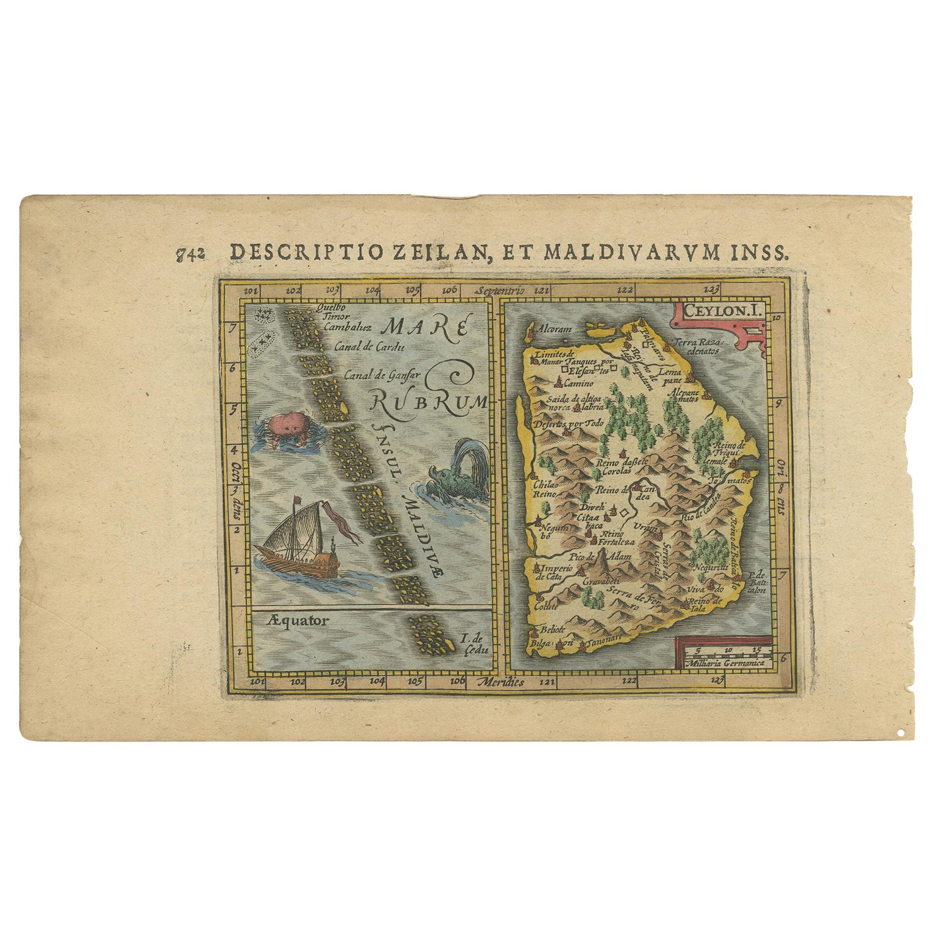 Antique Miniature Map of Ceylon 'Sri Lanka' and the Maldives by Bertius, 1618