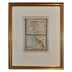 Antique Miniature Map of France and the Low Countries by Mallet, circa 1719