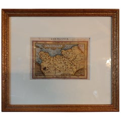 Antique Miniature Map of Normandy by Ortelius, circa 1598