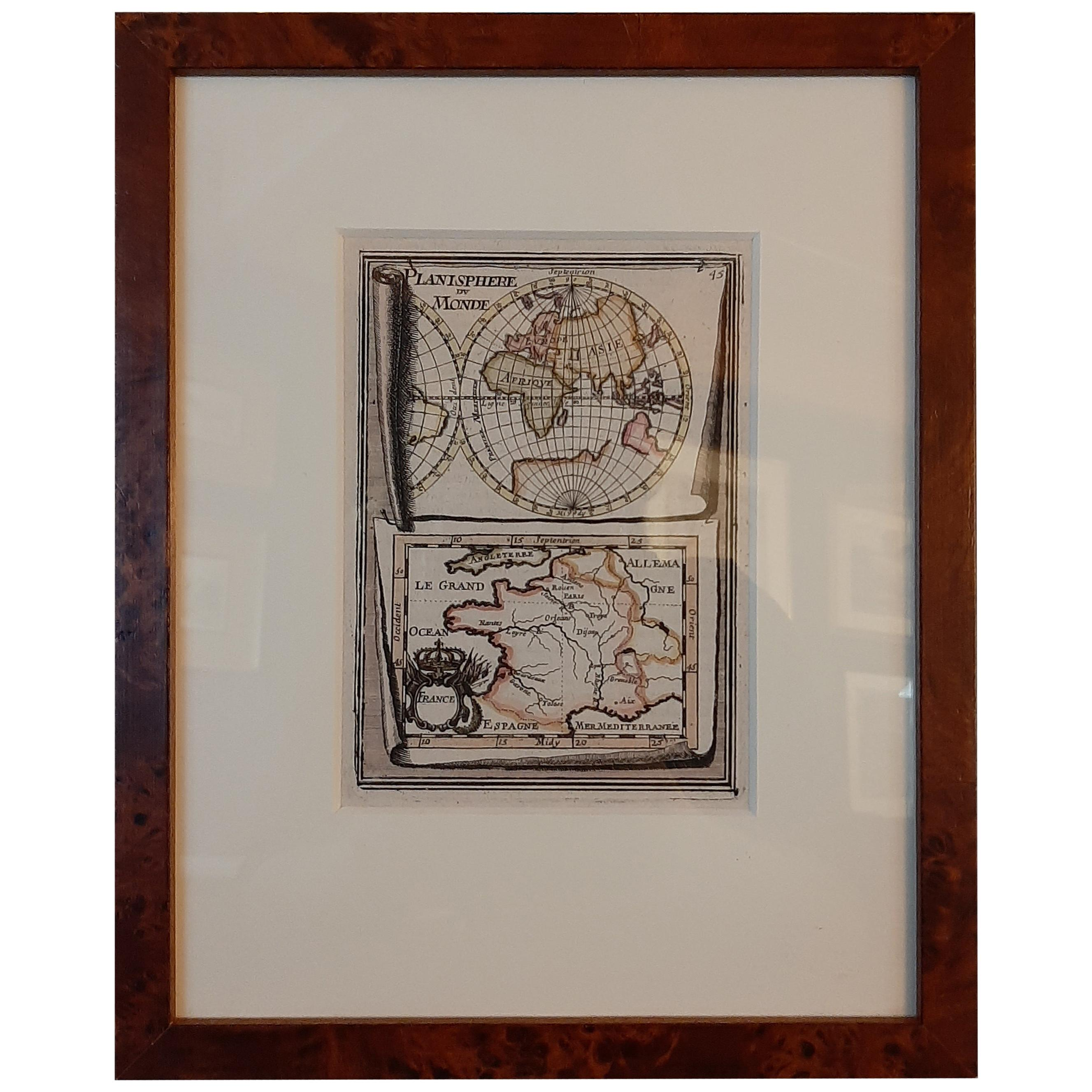 Antique Miniature Map of the Old World and France by Mallet, circa 1683