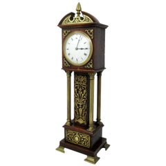Antique Miniature Oak Brass Mounted Longcase English Mantle Clock, 19th Century