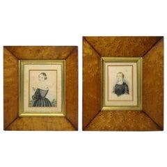 Antique Miniature Pair Watercolour Paintings Portrait Lady Birds Eye Maple Frame