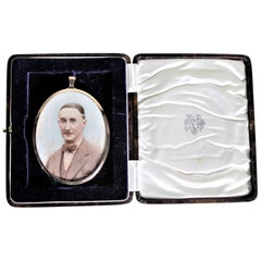 Antique Miniature Portrait with an 18-Karat Yellow Gold Frame & Fitted Case