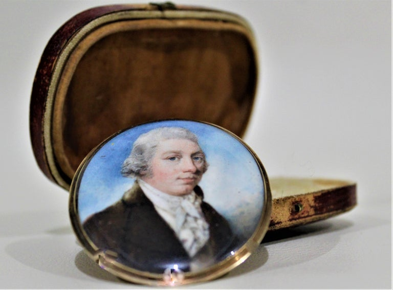 Metalwork Antique Miniature Portrait on Bone with Fitted Case 14-Karat Yellow Gold Brooch For Sale