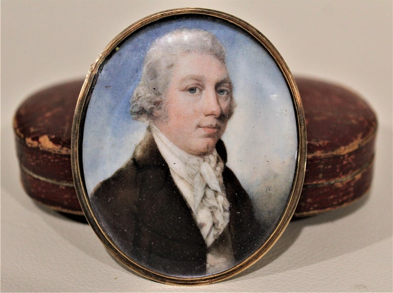 17th Century Antique Miniature Portrait on Bone with Fitted Case 14-Karat Yellow Gold Brooch For Sale