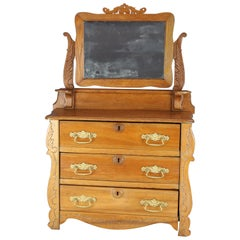 Antique Miniature Victorian Carved Oak Child's Dresser with Mirror, circa 1900