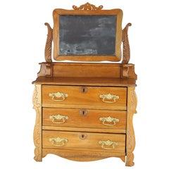 Antique Miniature Victorian Carved Oak Child's Dresser with Mirror, circa 1900