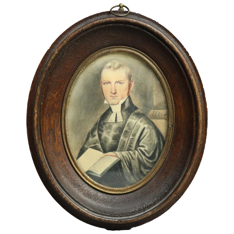 Antique Miniature Watercolor Portrait Painting on Paper of Judge, circa 1820