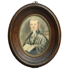 Antique Miniature Watercolor Portrait Painting on Paper of Judge, circa 1820