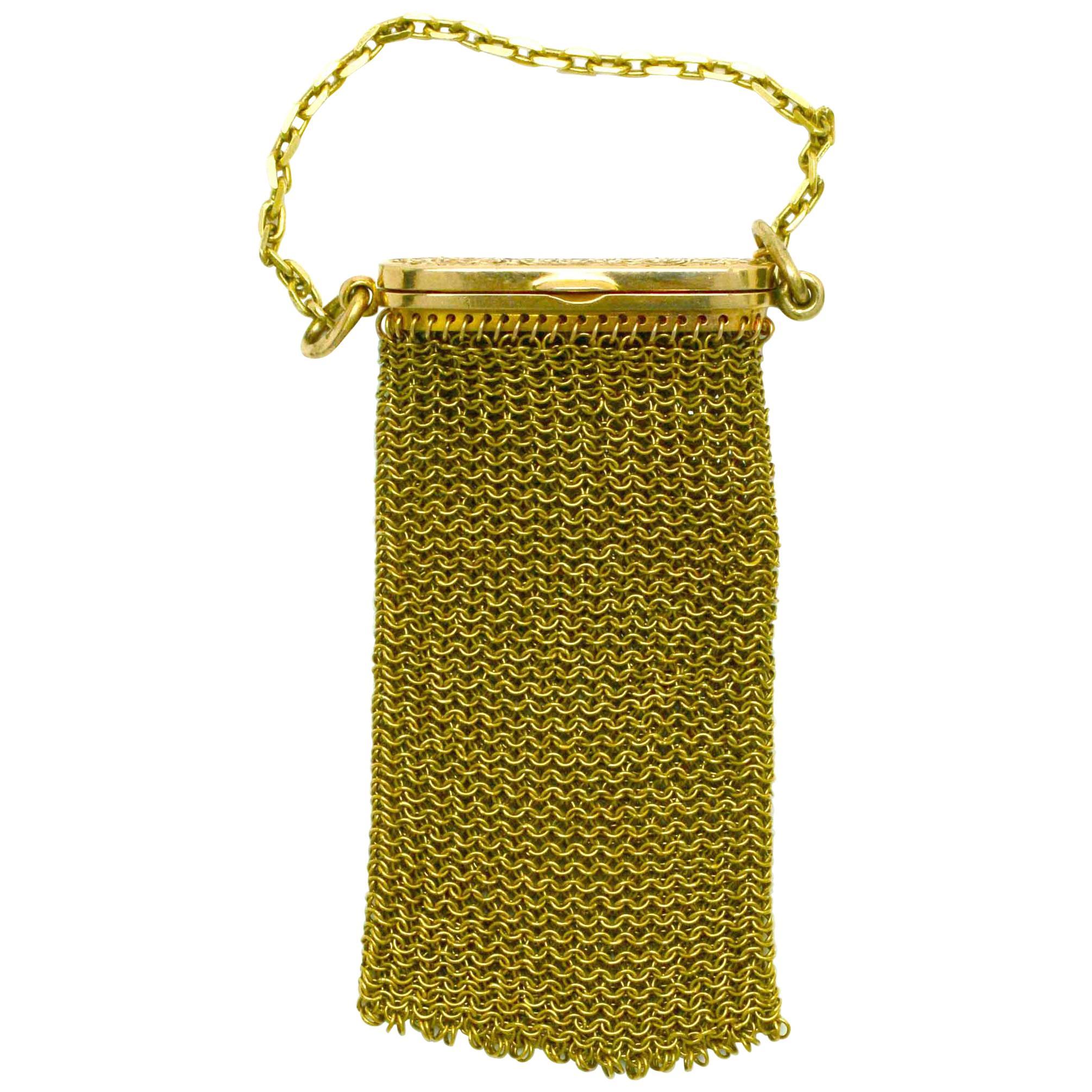 Antique Miniature Woven Mesh Coin Purse Pendant Pouch Victorian Yellow Rose Gold