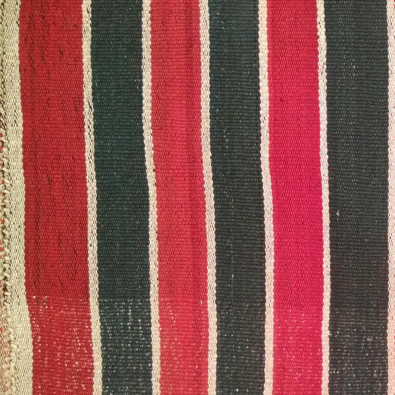 Turkish Antique Minimalist Jajim Flat-Woven Rug with Vertical Green/Red Stripes For Sale
