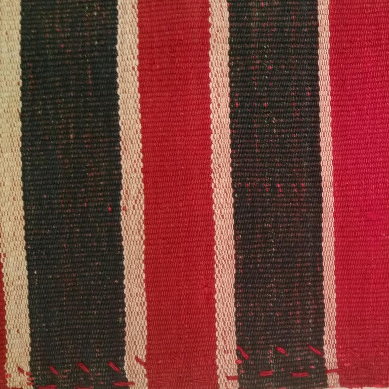 Hand-Woven Antique Minimalist Jajim Flat-Woven Rug with Vertical Green/Red Stripes For Sale