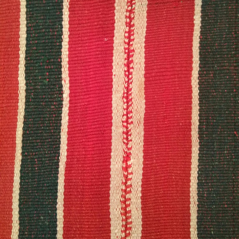 Antique Minimalist Jajim Flat-Woven Rug with Vertical Green/Red Stripes In Good Condition For Sale In Milan, IT