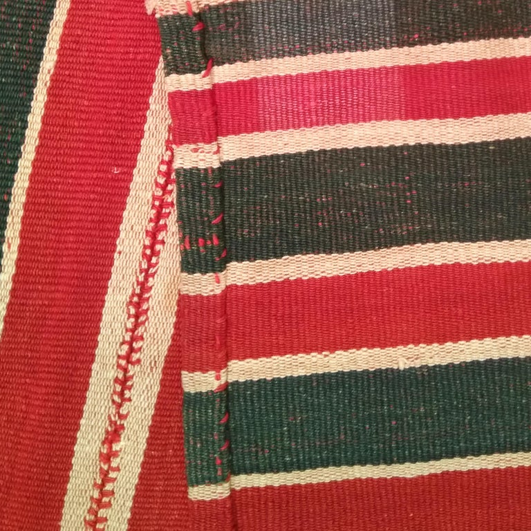 20th Century Antique Minimalist Jajim Flat-Woven Rug with Vertical Green/Red Stripes For Sale