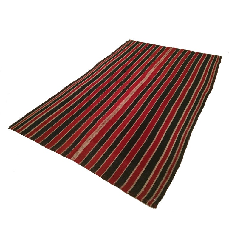 Wool Antique Minimalist Jajim Flat-Woven Rug with Vertical Green/Red Stripes For Sale