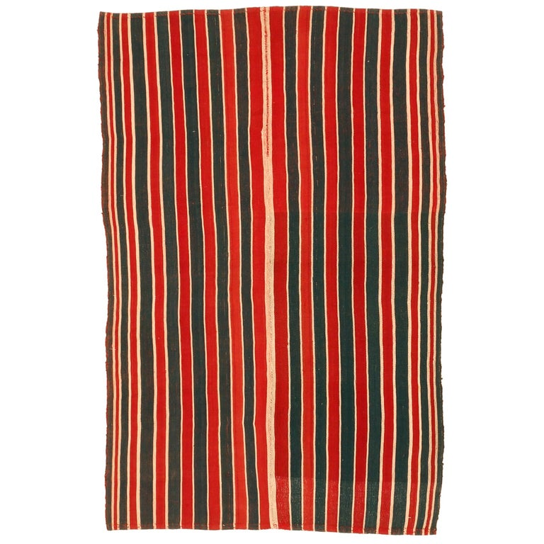 Antique Minimalist Jajim Flat-Woven Rug with Vertical Green/Red Stripes For Sale