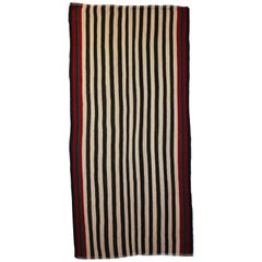Antique Minimalist Jajim Flat-Woven Rug with Vertical Ivory and Green Stripes