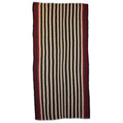 Antique Minimalist Jajim Flat-Woven Rug with Vertical Ivory/Green Stripes