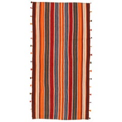 Antique Minimalist Jajim Flat-Woven Rug with Vertical Polychrome Stripes
