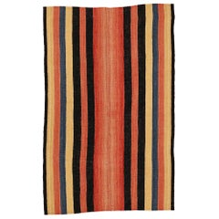 Antique Minimalist Jajim Flat-Woven Rug with Vertical Polychrome Stripes