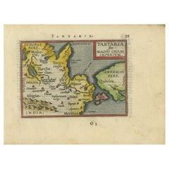 Antique Minitature Map of Tartary by Ortelius, circa 1600