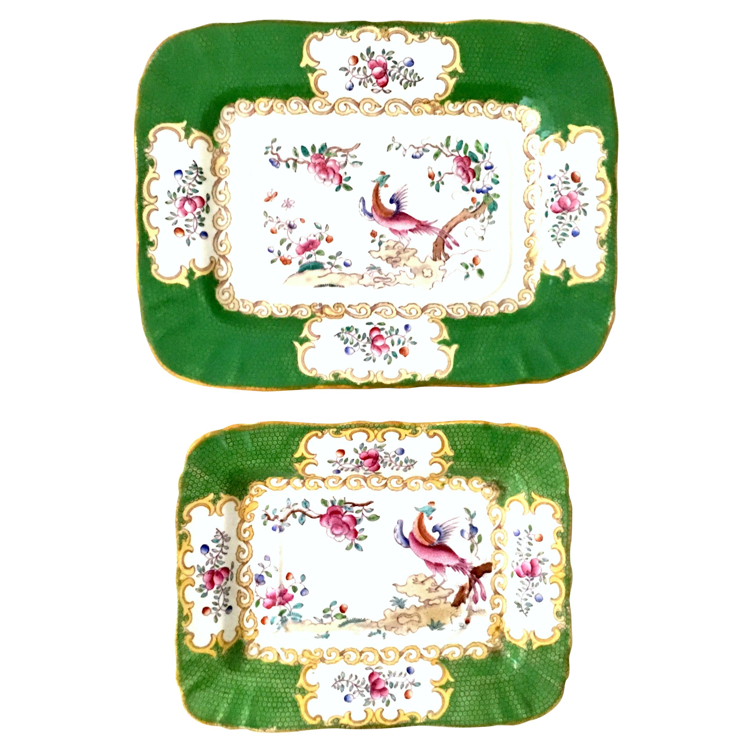 Antique Minton England Hand Painted Porcelain & 22K Gold Tray's Set of 2