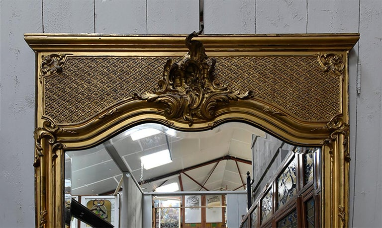 Faceted Antique Mirror, 19th Century For Sale