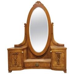Antique Mirror Cabinet, 1920s, Antique Hallway Cabinet, Tilt Mirror Anity Tab