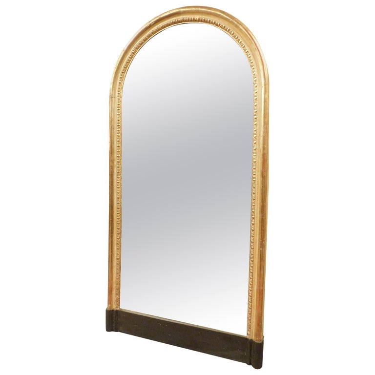Antique Mirror Early 1800 Gold Leaf Arched Form With New